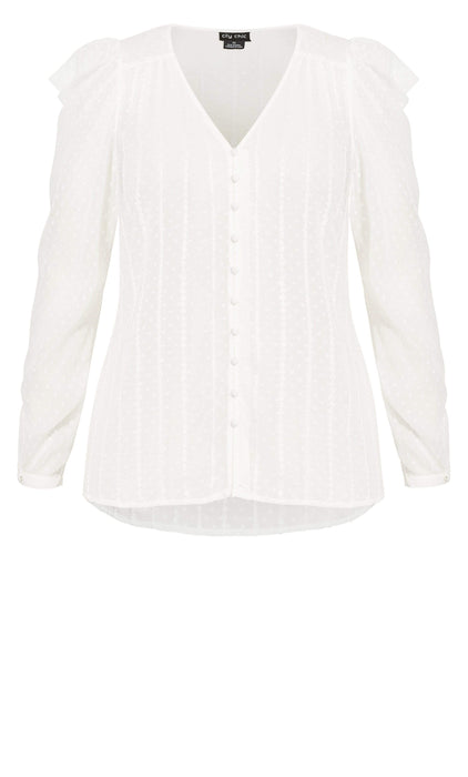 City Chic Sweet Dobby Top - ivory