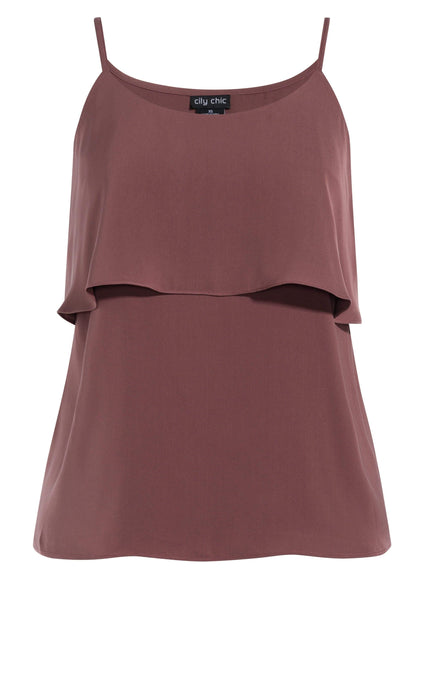 City Chic Sweet Tier Cami - nutmeg