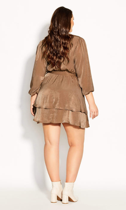 CITY CHIC Twisted Ruffle Dress - bronze