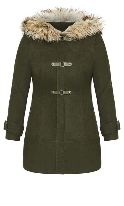 City Chic Wonderwall Coat - khaki