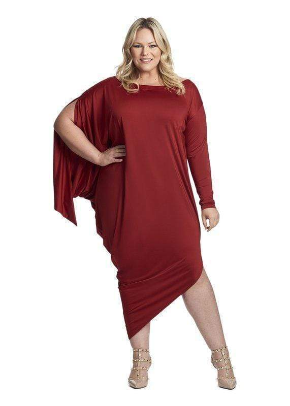 Coldesina Jenny Sleeve Dress In Deep Red