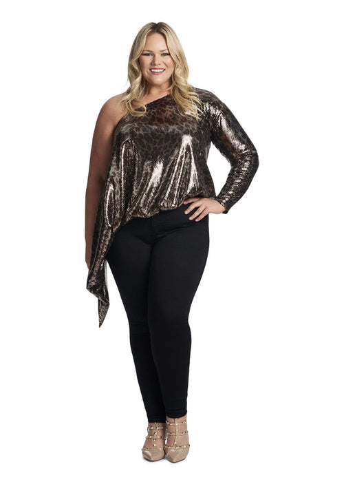 Coldesina Jenny Sleeve Top In Leopard Sequin