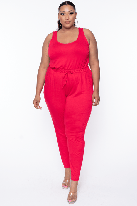 Curvy Sense Eva French Terry Jumpsuit - Red