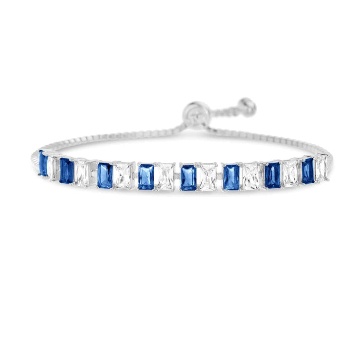 Inspired By You Emerald, Ruby, Blue Sapphire CZ Tennis Bracelet Blue
