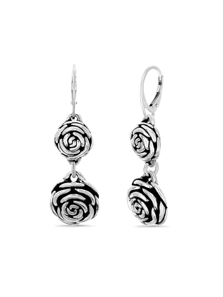Inspired By You High Sterling Silver Rose Dangle Earrings