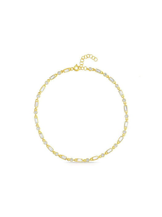 Inspired By You Round & Baguette CZ Long Link Bracelet