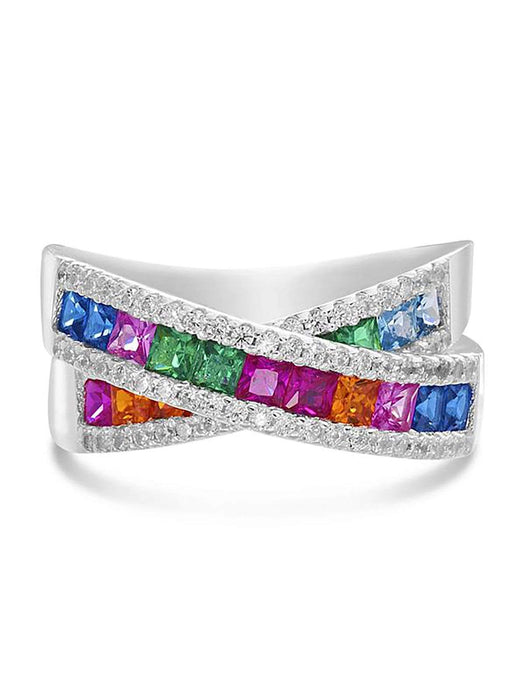 Inspired By You Square Shaped Rainbow Color Cubic Zirconia X Bypass Ring in Rhodium Plated Sterling Silver
