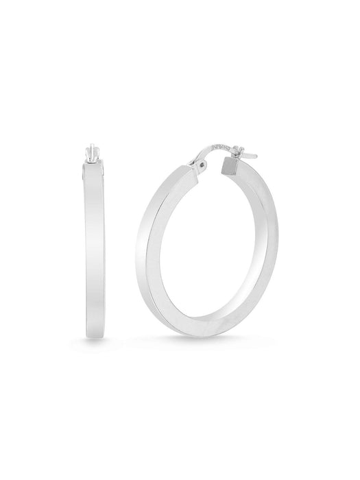 Inspired By You Sterling Silver 30mm Squared Hoop Earrings