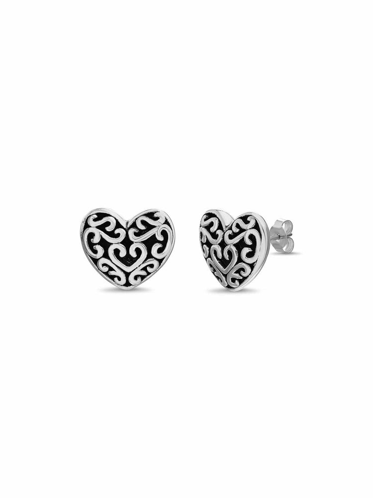 Inspired By You Sterling Silver Filigree Heart Stud Earrings