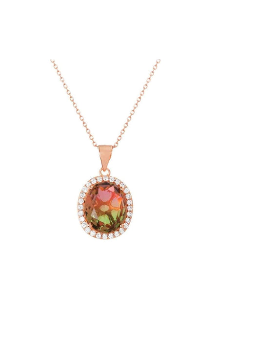 Inspired By You Watermelon Tourmaline CZ Pendant Necklace in Rose Gold