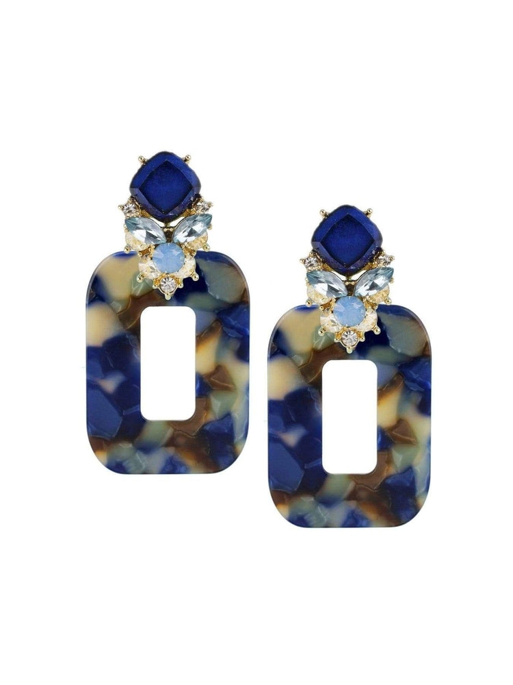 Jardin Jewelry Blue Marble Resin and Crystal Earrings