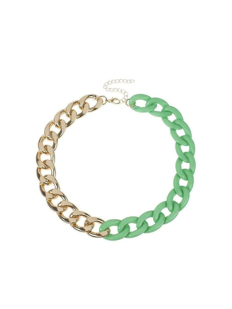 Jardin Jewelry Green resin and Gold Plated Chain Necklace