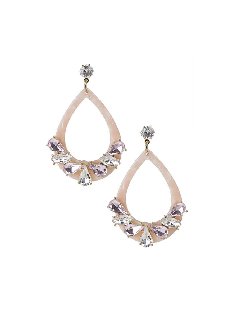 Jardin Jewelry Pink Resin and Crystal Earrings