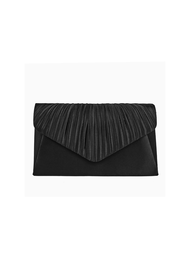 Jessica McClintock Lily Pleated Clutch Black
