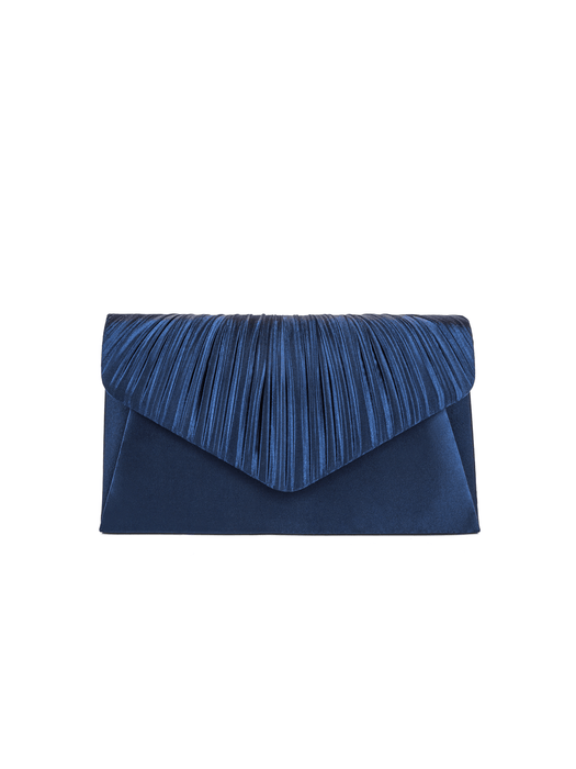 Jessica McClintock Lily Pleated Clutch Navy