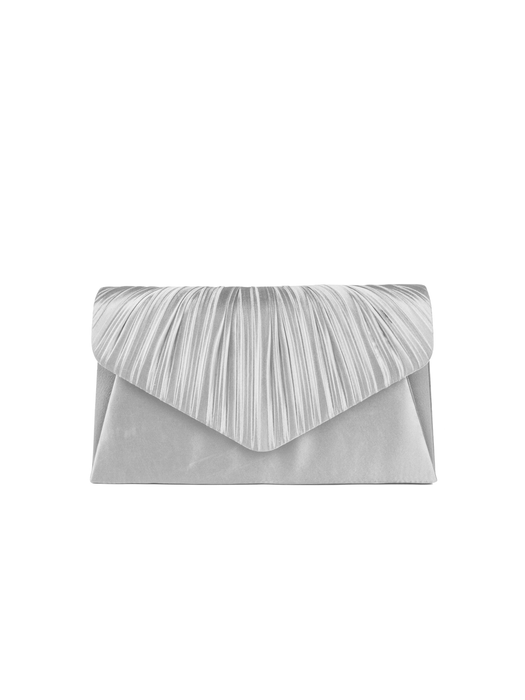 Jessica McClintock Lily Pleated Clutch Silver