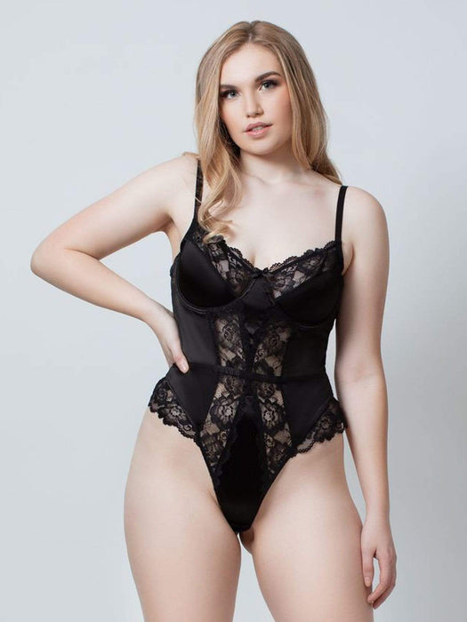 Kilo Brava Satin & Lace Underwire Bodysuit in Black Caviar