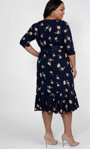 Kiyonna Flirty Flounce Wrap Dress Peach Floral Print