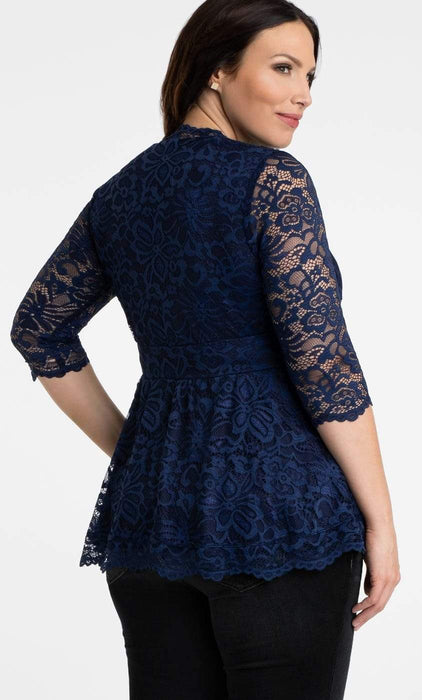 Kiyonna Linden Lace Top in Navy