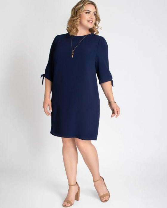 Kiyonna Manhattan Shift Dress In Navy