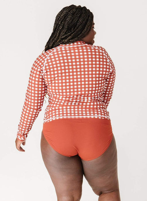 Lime Ricki Rust Gingham Rash Guard