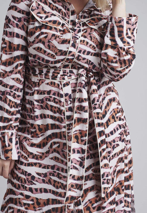Lost Ink Maxi Shift Dress In Animal Print