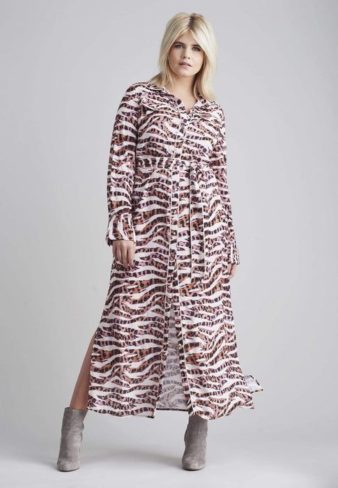 Lost Ink Maxi Shift Dress In Animal Print US 12 - UK 16