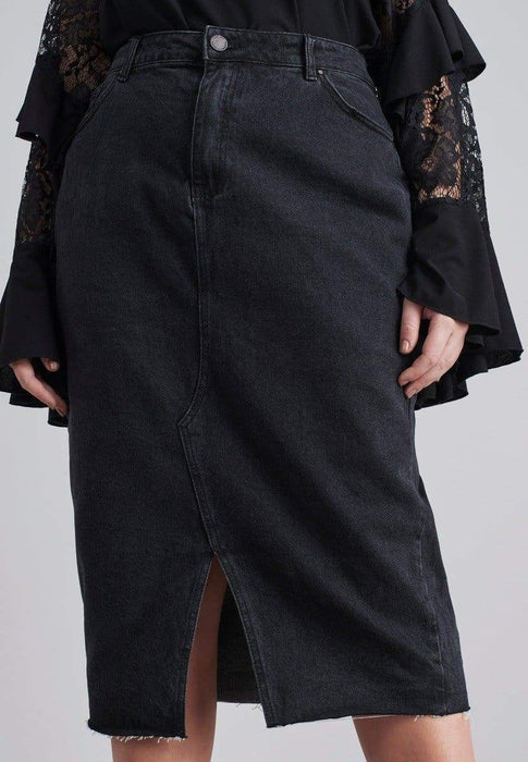 Lost Ink Midi Denim Pencil Skirt