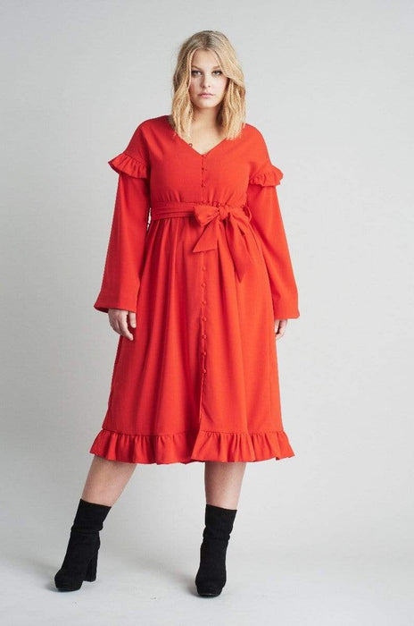Lost Ink Midi Dress With Buttons