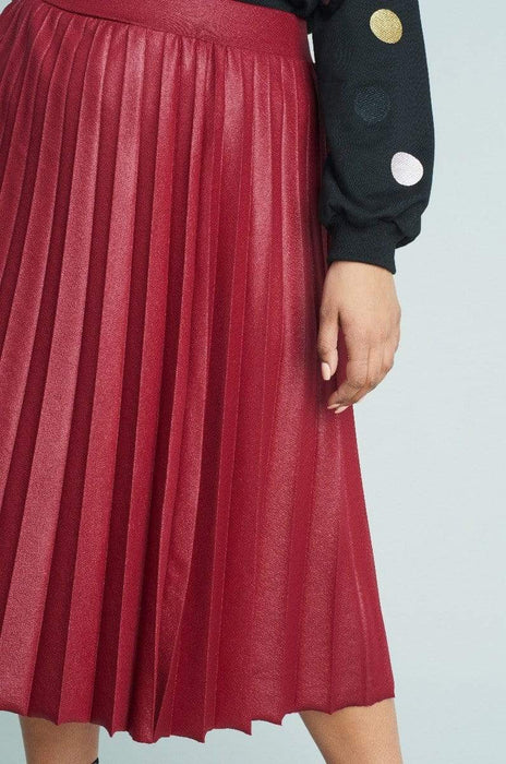 Lost Ink Pleated Skirt In Coated Jersey