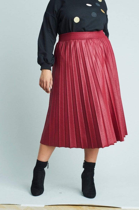 Lost Ink Pleated Skirt In Coated Jersey US 22 - UK 26