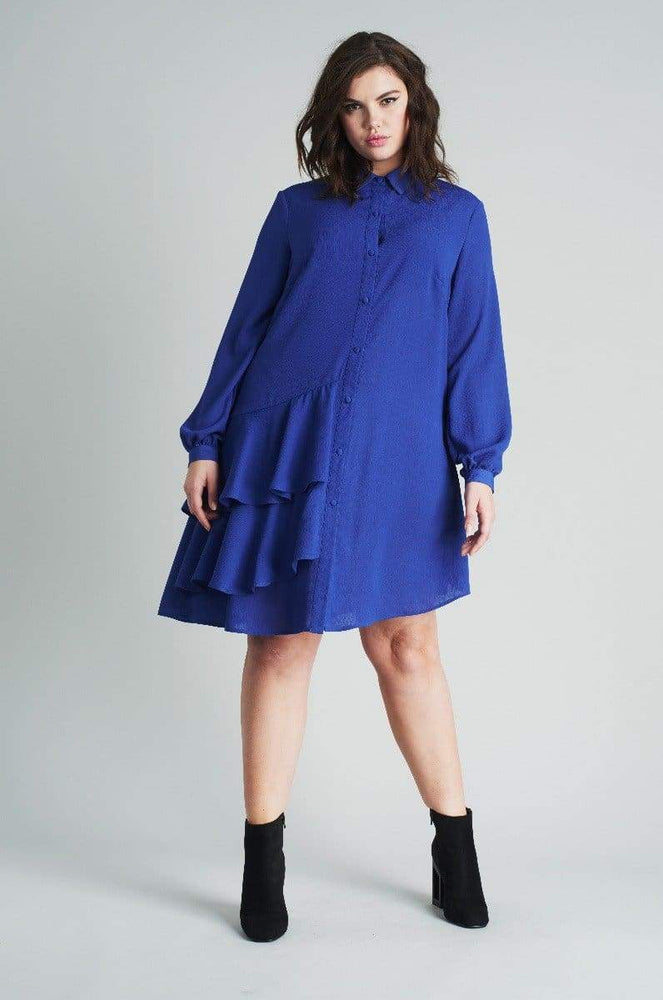 Lost Ink Shirt Dress With Frills