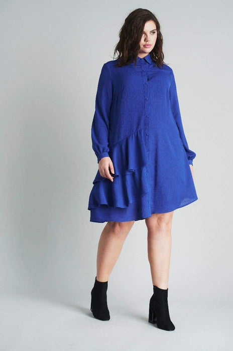 Lost Ink Shirt Dress With Frills US 20 - UK 24