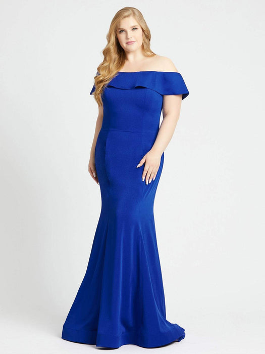 Mac Duggal Off-The-Shoulder Foldover Trumpet Gown-Sapphire