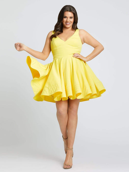 Mac Duggal V-Neck Fit & Flare-Lemon