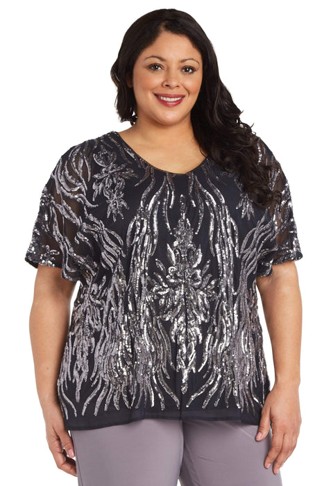 R&M Richards Plus Two-Tone Sequin Butterfly Sleeve Top
