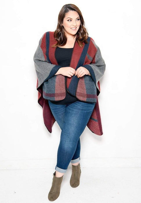 Sealed With A Kiss Piper Poncho Plaid / Onesize
