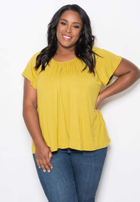 Sealed With A Kiss Pretty Flutter Top - Mustard