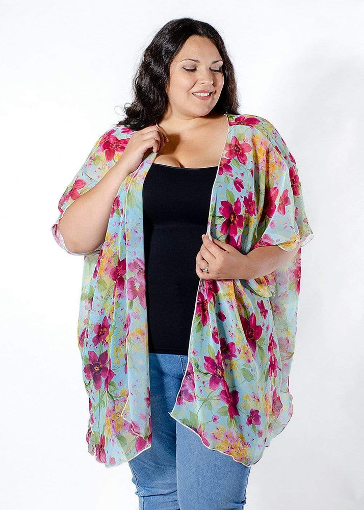 Sealed With A Kiss Rowen Chiffon Cardigan in Pink Floral