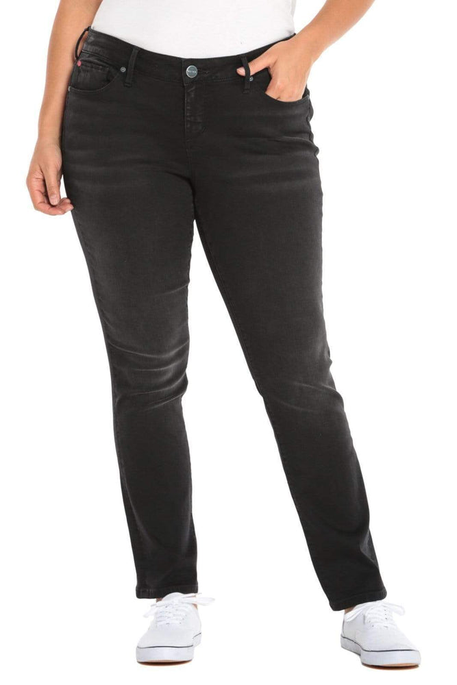 SLINK JEANS The Mid-Rise Straight Leg Jean - BLACK