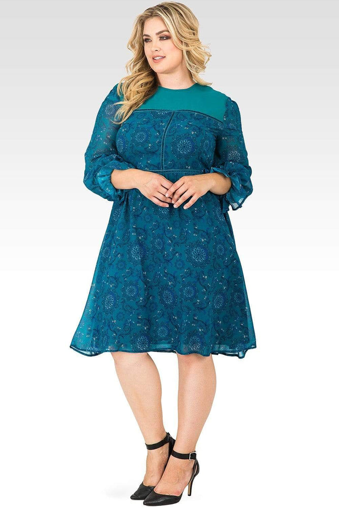 Standards & Practices Elsie Baloon Sleeve Velvet Trim Peasant Dress
