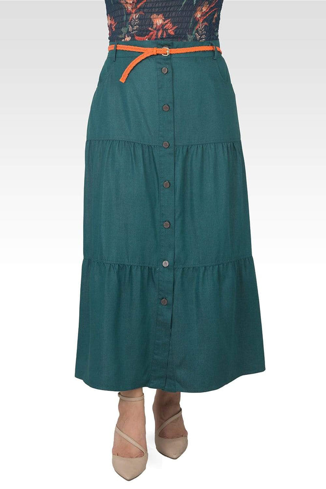 Standards & Practices Hannah Plus Size Olive Green Maxi Peasant Skirt