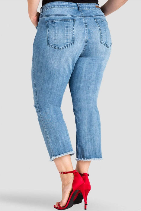 Standards & Practices Jamie Distressed Cropped Flare Jeans
