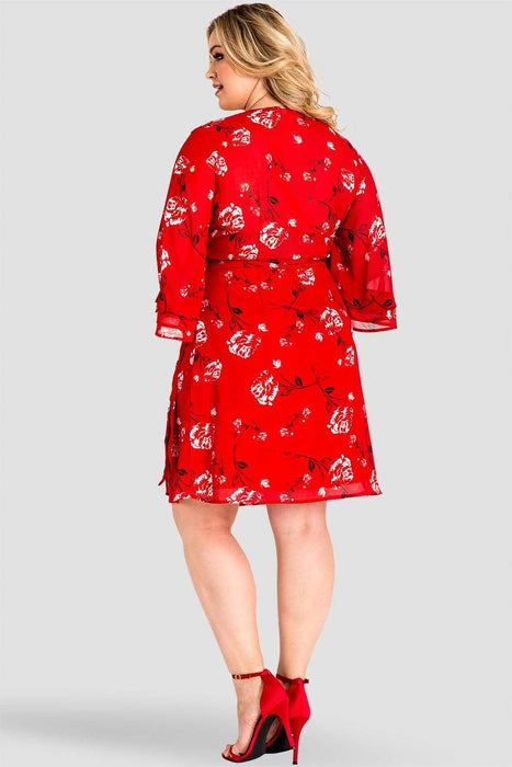 Standards & Practices LuLu Ruffle Sleeve Wrap Dress Red Floral