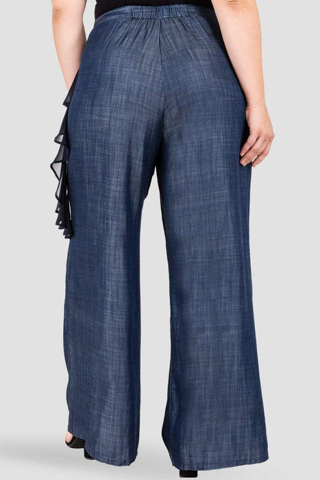 Standards & Practices Olga Ruffle Denim Palazzo Pants