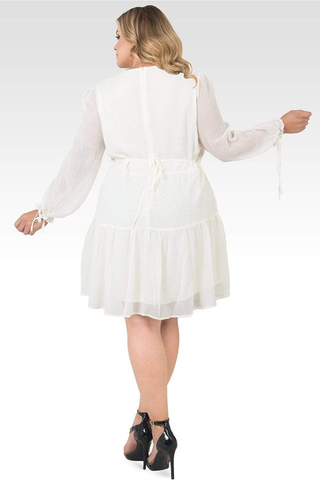 Standards & Practices Plus Size Blair Chiffon Long Sleeve Tiered Prairie Mini Dress - Off-White