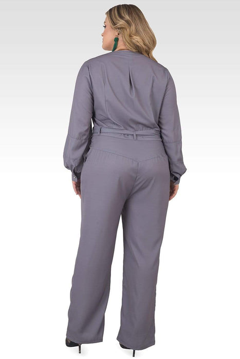 Standards & Practices Plus Size Georgina Light Gray Cropped Long Sleeve Jumpsuit