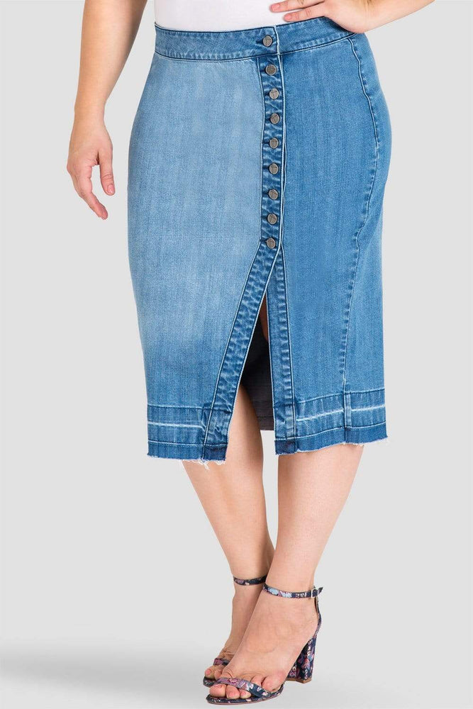 Standards & Practices Plus Size Harley Button-Up Released Hem Denim Pencil Skirt