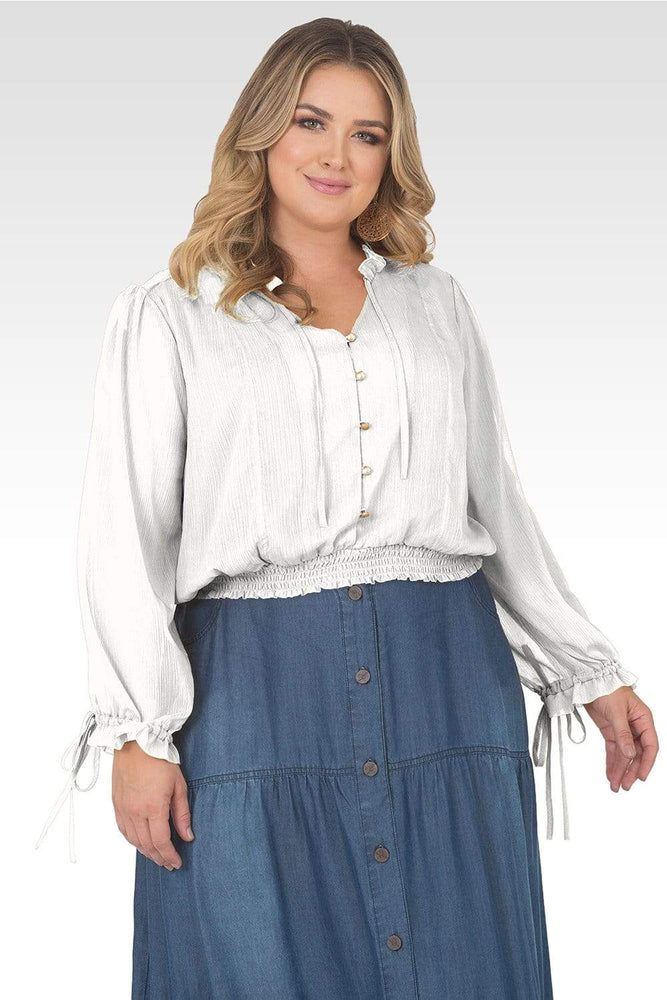 Standards & Practices Plus Size Jessica Chiffon Tie-Neck Long Sleeve Prairie Top - Off-White