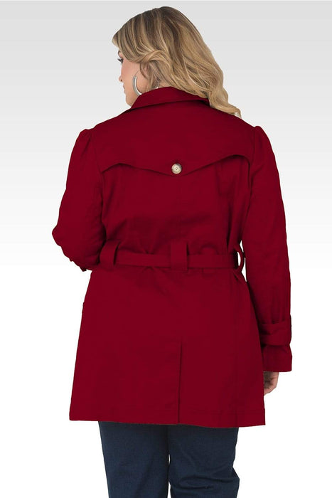 Standards & Practices Plus Size Melanie Cherry Red Khaki Lapel Trench Coat